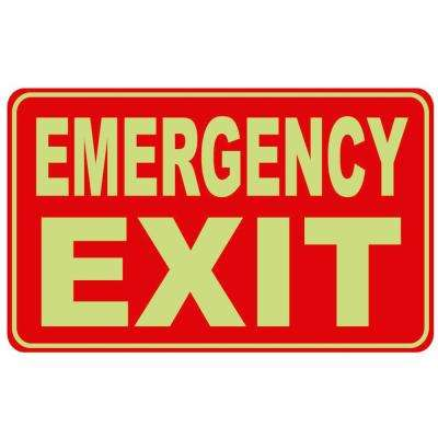 8 in. x 12 in. Emergency Exit Sign Plastic Glow in the Dark