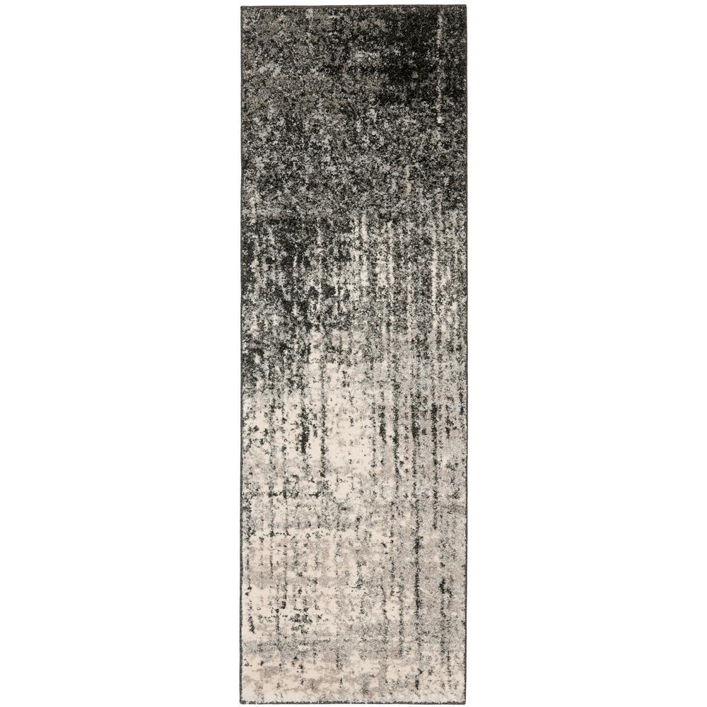 Retro Black/Light Gray 2 ft. 3 in. x 19 ft. Runner Rug