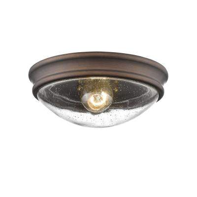 10 in. W Single Light Rubbed Bronze Ceiling Fixture Flush Mount Bowl