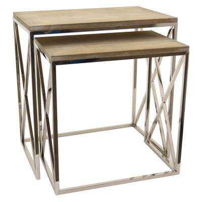 23.5 in. x 15 in. Silver Metal and Wood Tables (Set of 2)