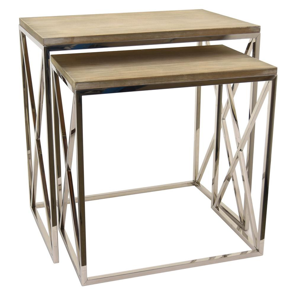 THREE HANDS 23.5 in. x 15 in. Silver Metal and Wood Tables (Set of 2 ...