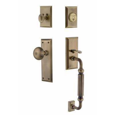 New York Plate 2-3/8 in. Backset Antique Brass F Grip Entry Set New York Knob