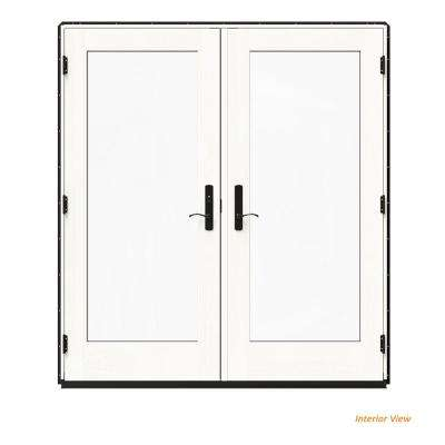 72 in. x 80 in. W-4500 Black Clad Wood Right-Hand Full Lite French Patio Door w/White Paint Interior