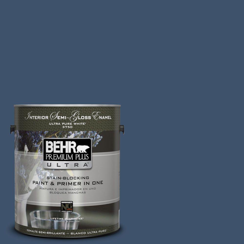 BEHR Premium Plus Ultra 1-gal. #HDC-SM14-7 Midnight Mosaic Semi-Gloss Enamel Interior Paint