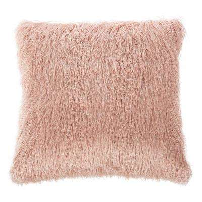 Soleil Shag 20 in. x 20 in. Blush Square Outdoor Throw Pillow