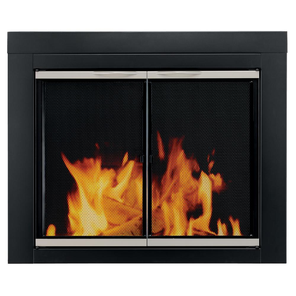 Offer a sophisticated contemporary design to your home by choosing this Pleasant Hearth Enfield Small Glass Fireplace Doors.