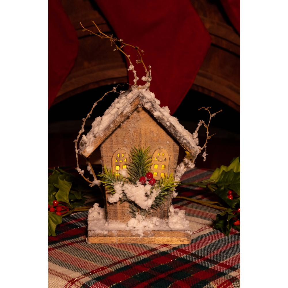 Alpine Corporation 8 in  Christmas Wooden Birdhouse with 5 LED Lights