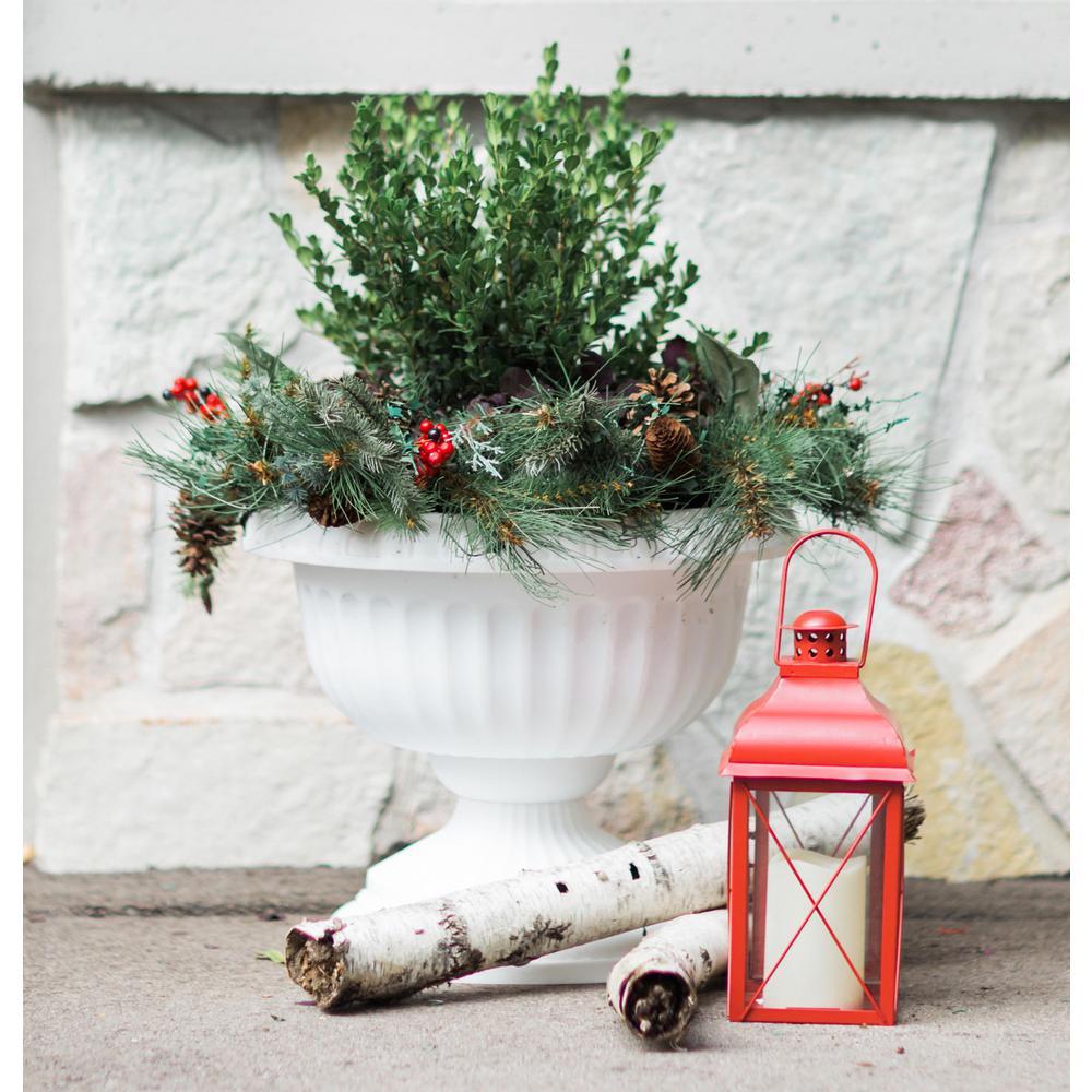 Grecian 12 in. Casper White Plastic Urn Planter