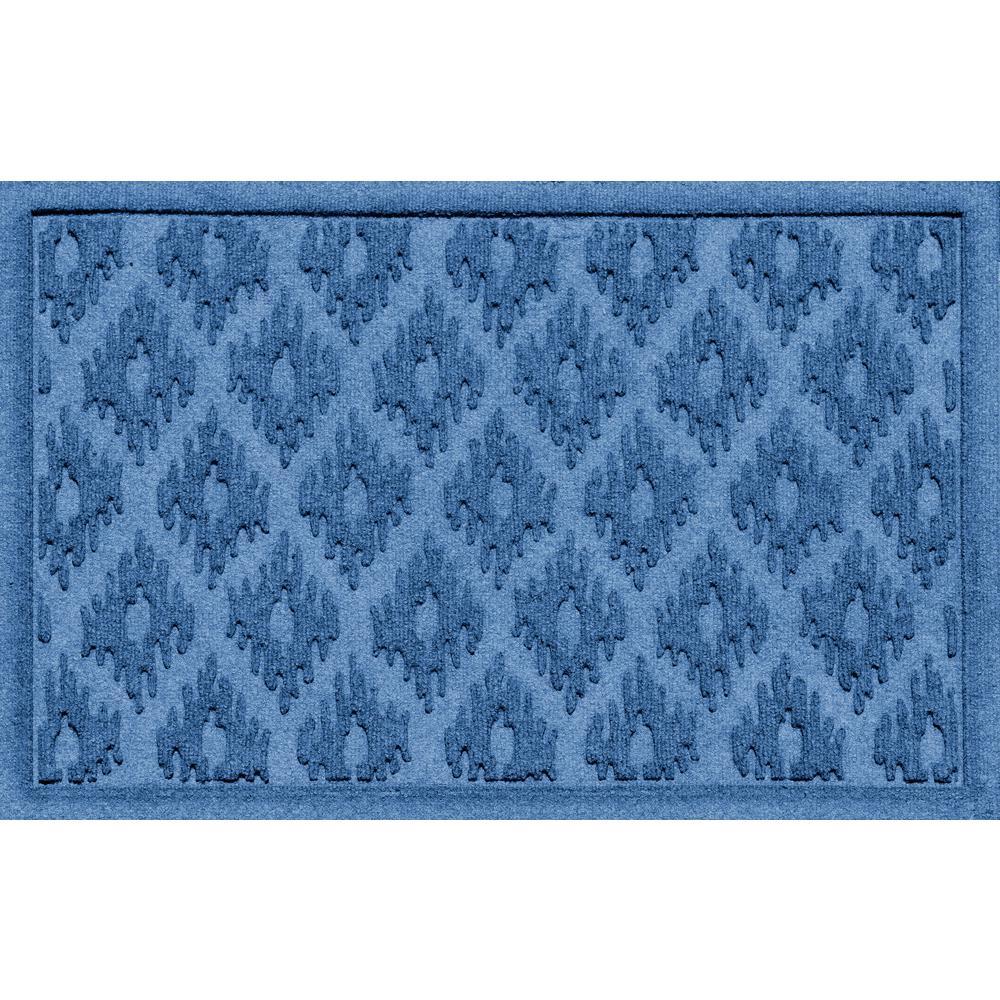 Ikat Medium Blue 24 in. x 36 in. Polypropylene Door Mat