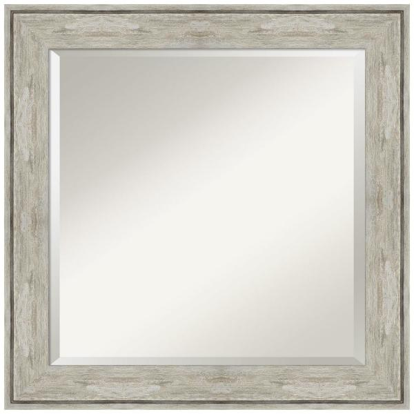 Medium Square Crackled Metallic Beveled Glass Casual Mirror (25 in. H x 25 in. W)