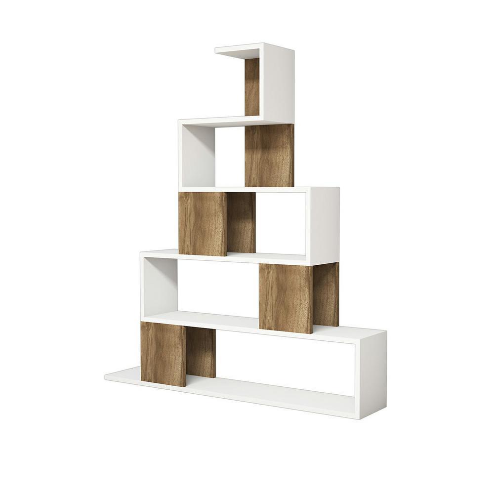 Bremen White and Walnut Modern Bookcase