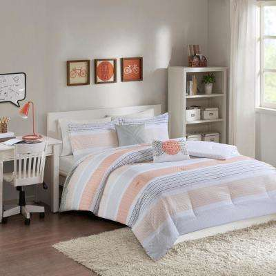 Lou 5-Piece Coral Full/Queen Geometric Comforter Set