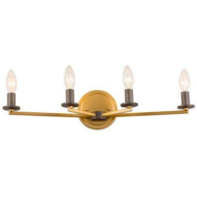 Rogue Decor Elwood 4-Light Antique Gold with Rustic Bronze Bath Light