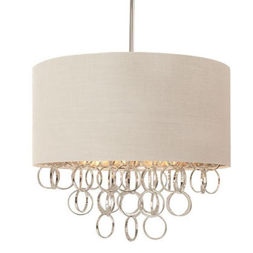 3 Light Cascading Ring Polished Nickel Pendant With White Drum Shade