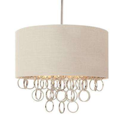 Hampton bay pendant lights lighting the home depot 3 light cascading ring polished nickel pendant with white drum shade aloadofball Gallery