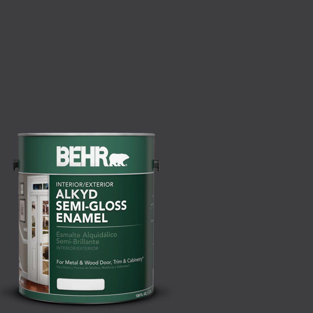 1 gal. #AE-54 Molten Black Semi-Gloss Enamel Alkyd Interior/Exterior Paint