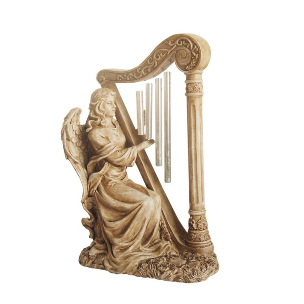 Outdoor decor statues - Seated Angel Playing Harp Wind Chime Statue
