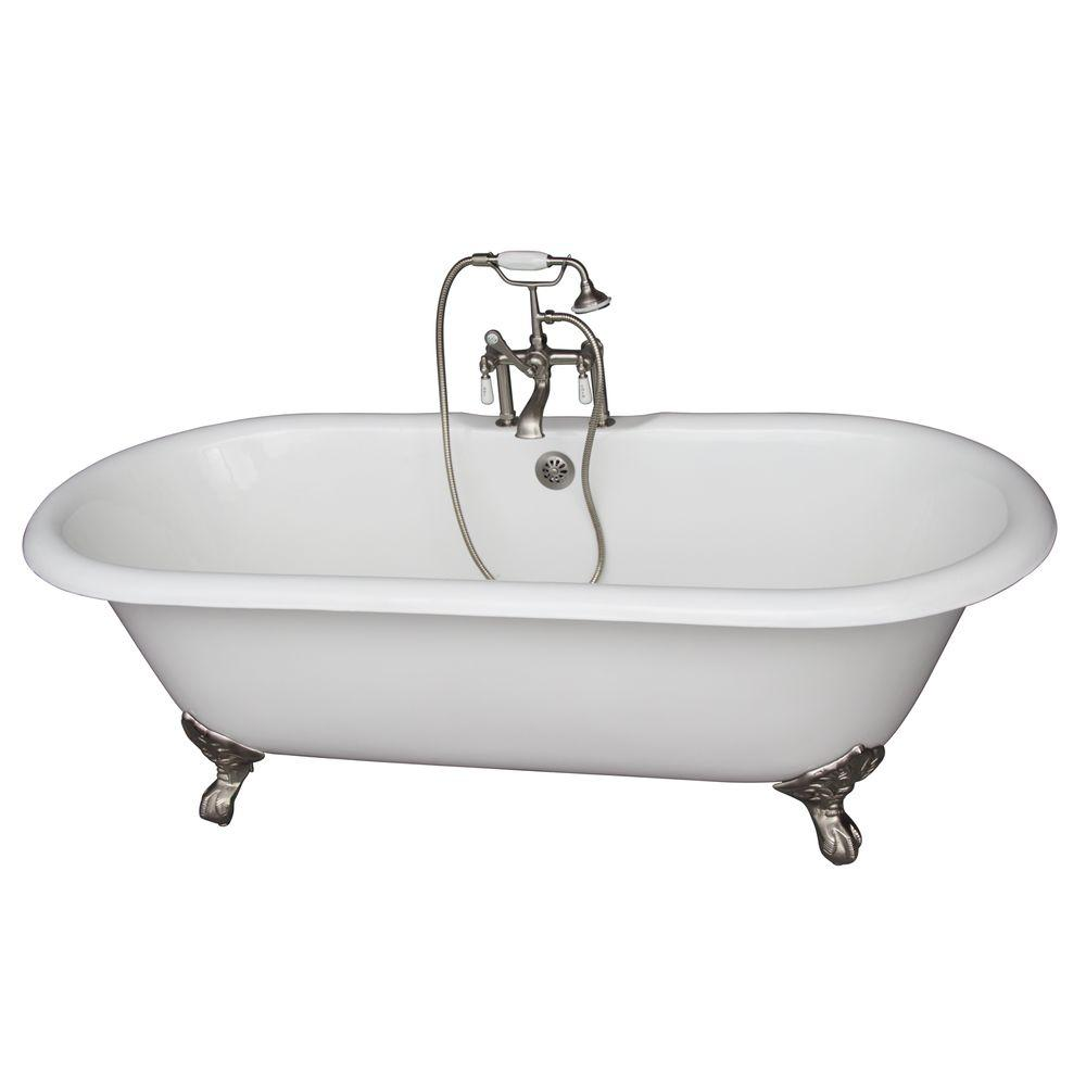 Barclay Products 5.6 ft. Cast Iron Imperial Feet Double Roll Top Tub in White with Brushed Nickel Accessories