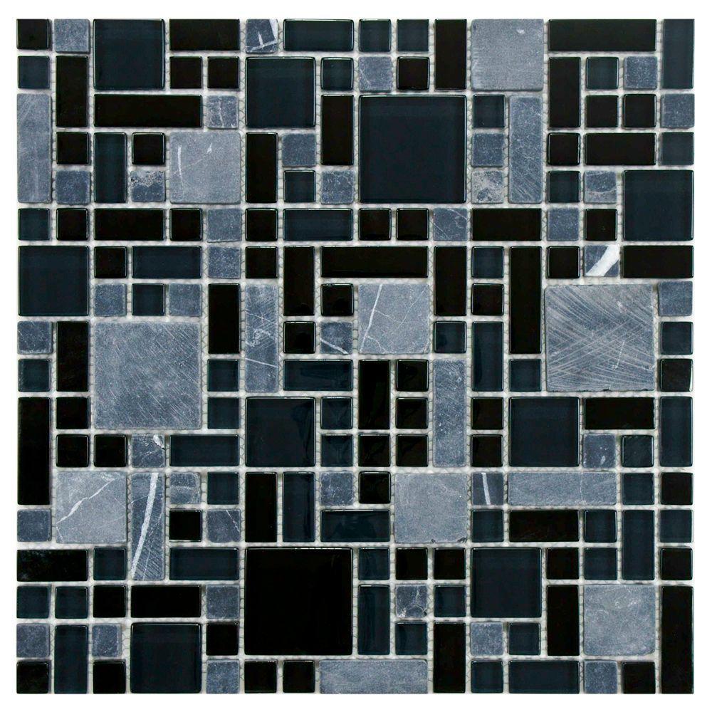 Merola Tile Tessera Versailles Bizancio 11-3/4 in. x 11-3/4 in. x 8 mm Glass and Stone Mosaic Tile