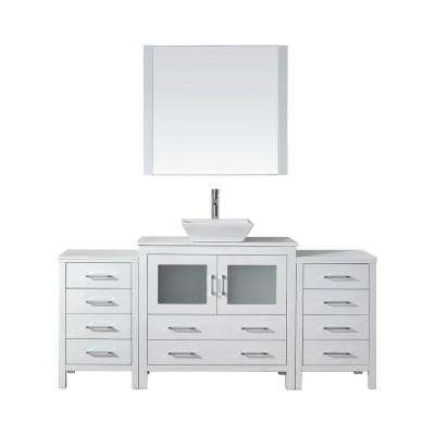 Dior 73 in. W Bath Vanity in White with Stone Vanity Top in White with Square Basin and Mirror and Faucet