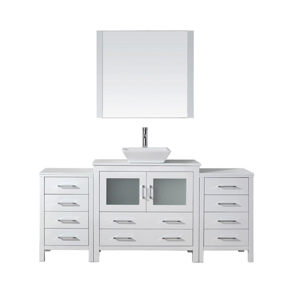 Virtu USA Dior 72 inch W x 18.3 inch D Vanity in White with Stone Vanity Top in White with White Basin and Mirror by Virtu USA