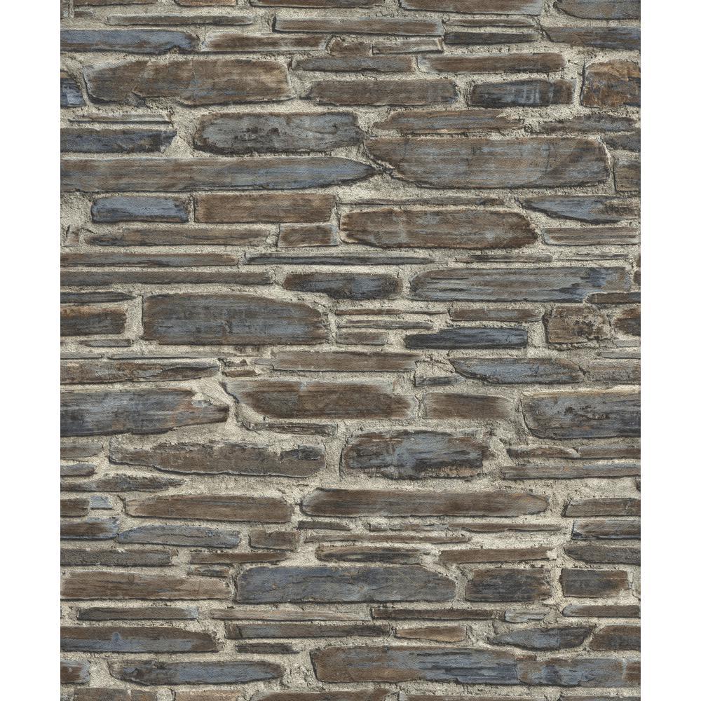 56.4 sq. ft. Cassandre Grey Stone Wallpaper