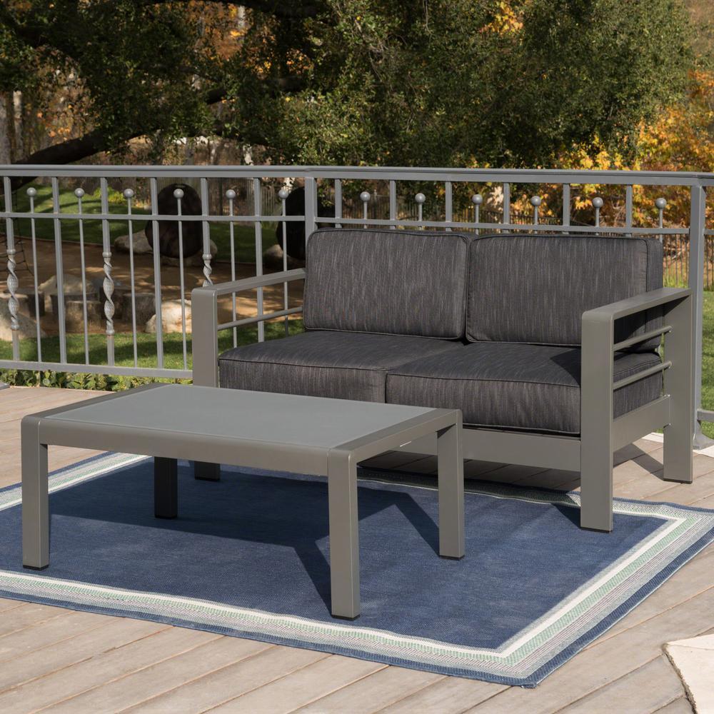 Cape Coral Grey 2-Piece Aluminum Patio Conversation Set with Dark Grey Cushions