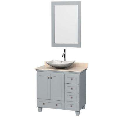 Acclaim 36 in. W x 22 in. D Vanity in Oyster Gray with Marble Vanity Top in Ivory with White Basin and 24 in. Mirror