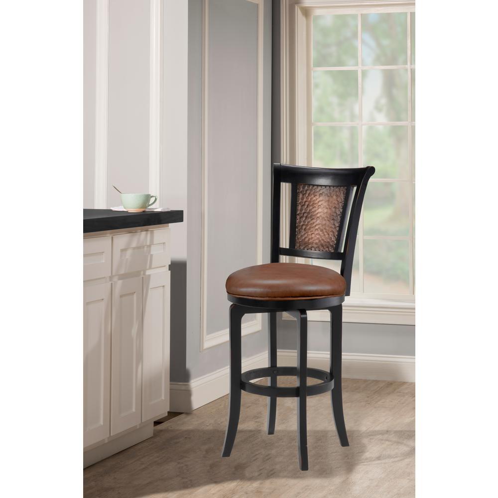 Distressed black honey swivel bar stool