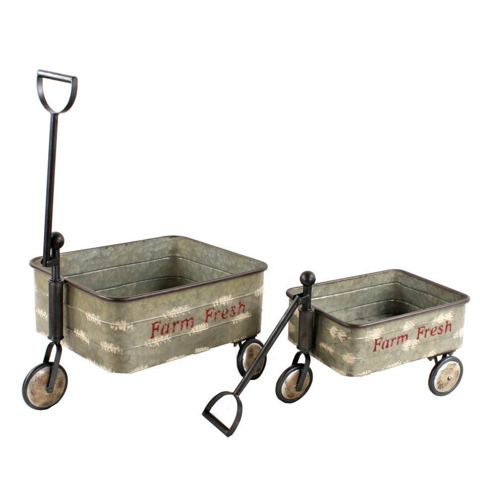 Decorative Old Style Galvanized Farm Carts (Set of 2)