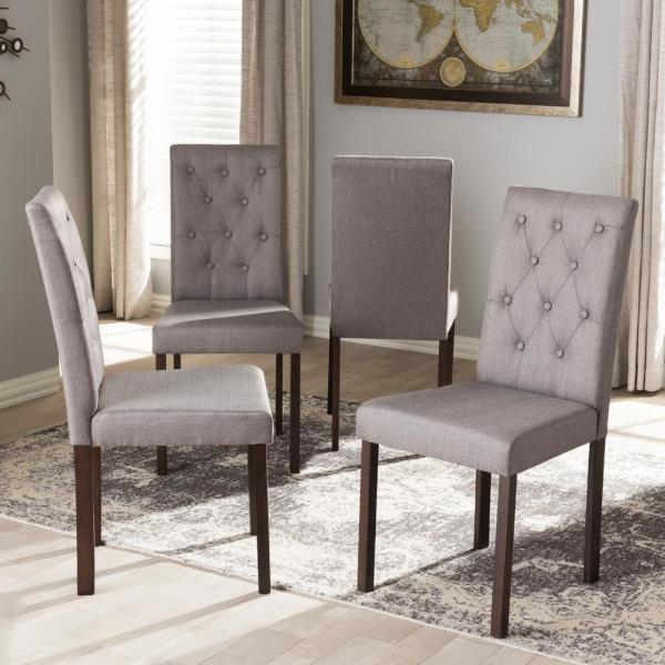 Baxton Studio Gardner Gray Fabric Upholstered Dining Chairs Set Of