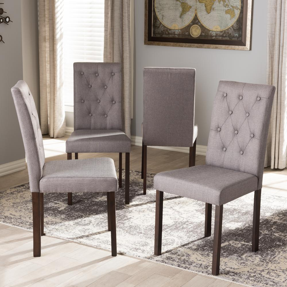 Upholstery For Dining Room Chairs: Baxton Studio Gardner Gray Fabric Upholstered Dining