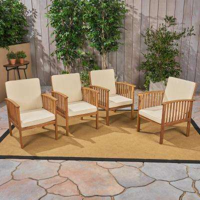 Casa Acacia Brown Patina Wood Outdoor Lounge Chairs with Cream Cushions (4-Pack)