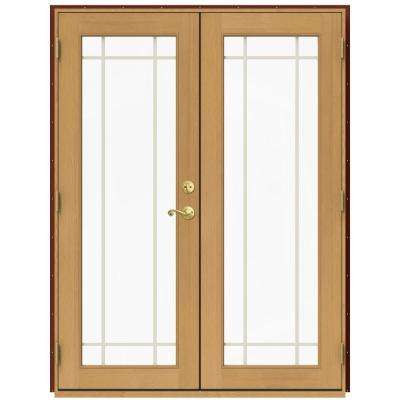 60 in. x 80 in. W-2500 Red Clad Wood Right-Hand 9 Lite French Patio Door w/Stained Interior