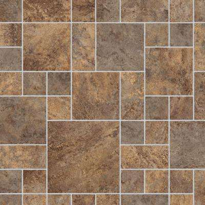 Sandblast Stone Brown 13.2 ft. Wide x Your Choice Length Residential Vinyl Sheet Flooring