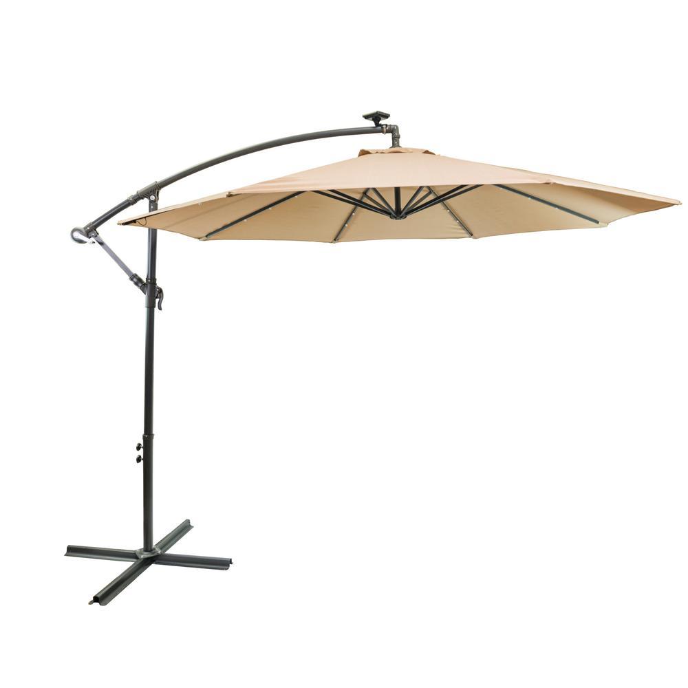 10 ft. Aluminum Pole Cantilever Solar Patio Umbrella in Taupe