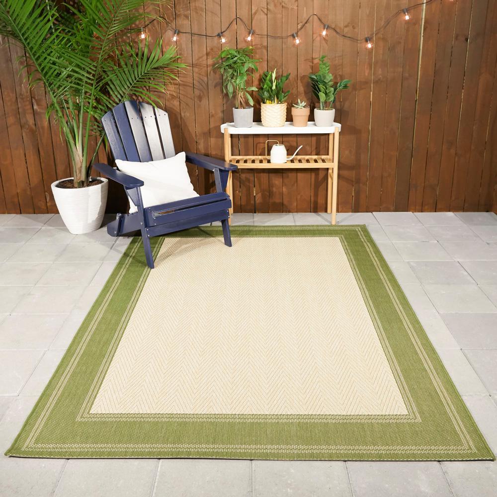 Border Green/Beige 8 ft. x 10 ft. Indoor/Outdoor Area Rug