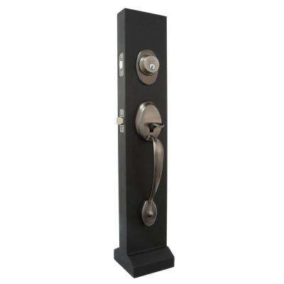 Plymouth Antique Pewter Single Cylinder Deadbolt with Siena Knob Door Handleset