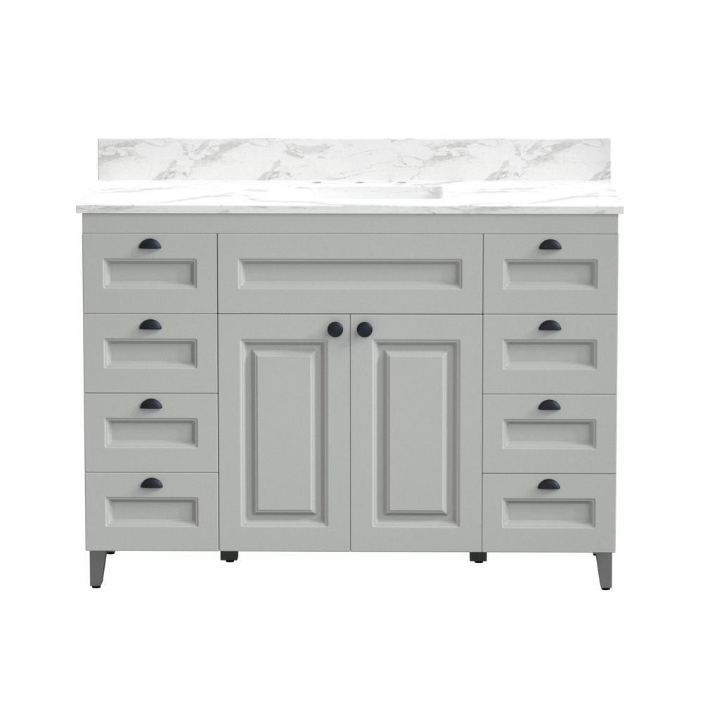 48 in. Metal Bathroom Vanity in Gray with Carrera Engineered Marble Vanity Top and White Ceramic Sink