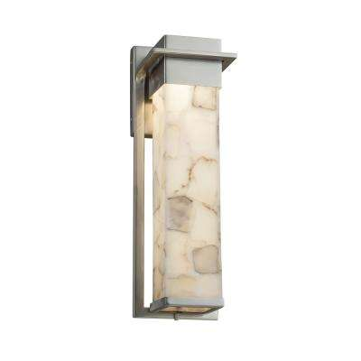 Alabaster Rocks Pacific Brushed Nickel LED Outdoor Wall Lantern Sconce with Alabaster Rocks Shade