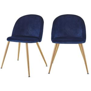 Contemporary Design Blue Velvet Upholstered Side Chair with Adjustable Height Legs Pads for Living Room ( Set of 2 )