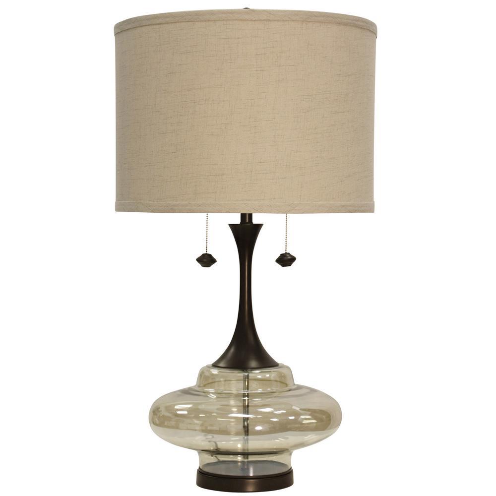 Stylecraft 37 In Dark Brown Table Lamp With Beige
