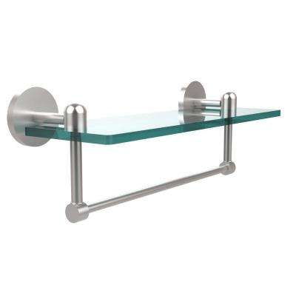 Tango 16 in. L  x 5 in. H  x 5 in. W Clear Glass Vanity Bathroom Shelf with Towel Bar in Satin Chrome
