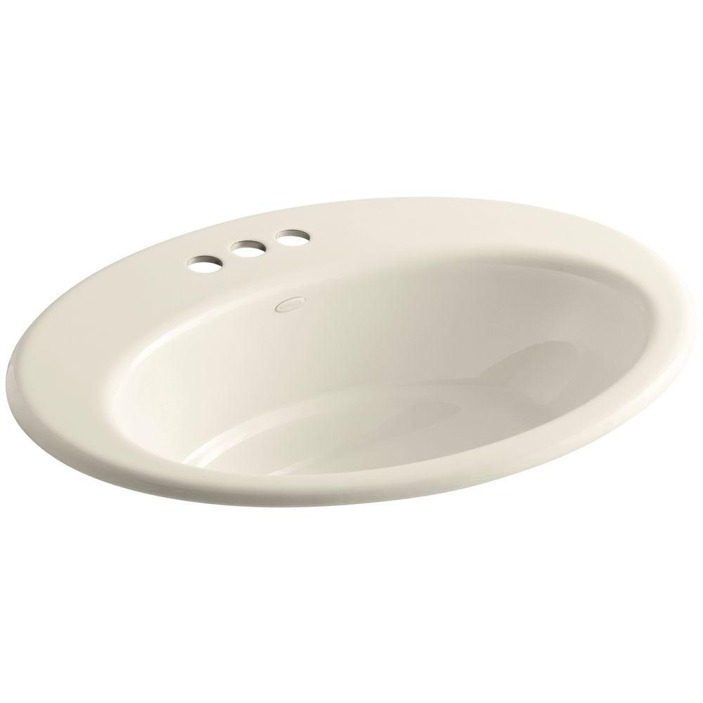 Kohler Thoreau Drop In Cast Iron Bathroom Sink In Almond With Overflow Drain K 2907 4 47 The