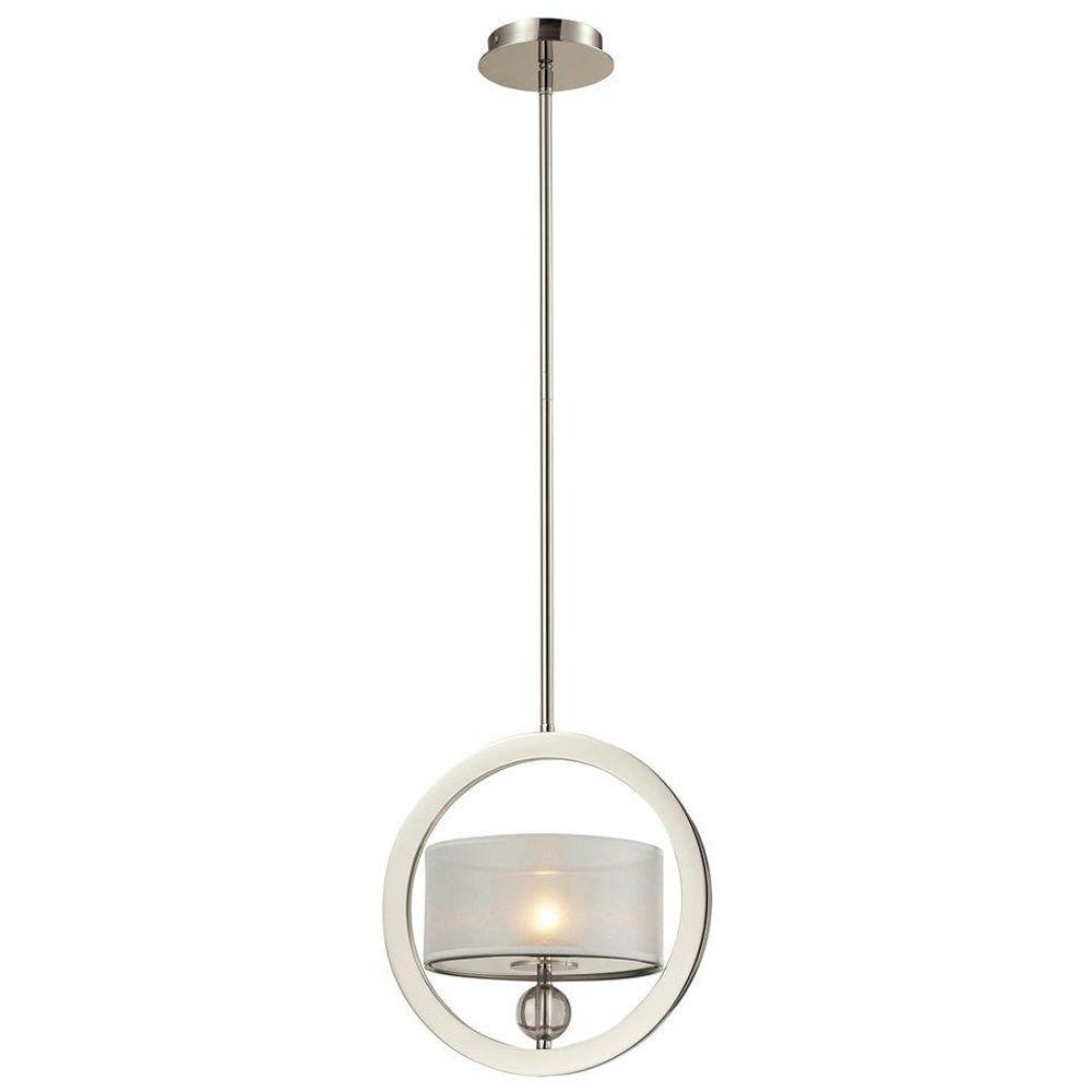 Corisande 1-Light Polished Nickel Ceiling Mount Pendant