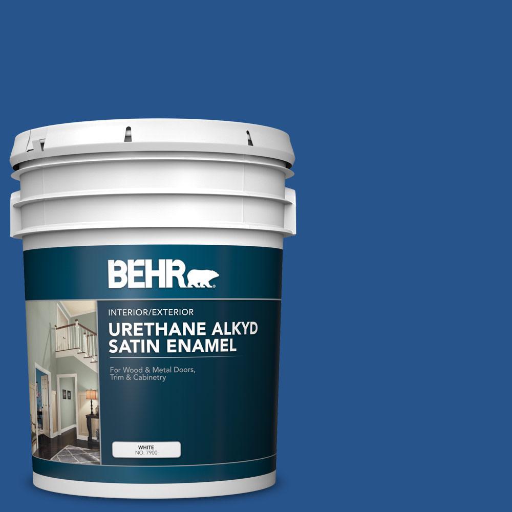 5 gal. #PPU15-03 Dark Cobalt Blue Urethane Alkyd Satin Enamel Interior/Exterior Paint