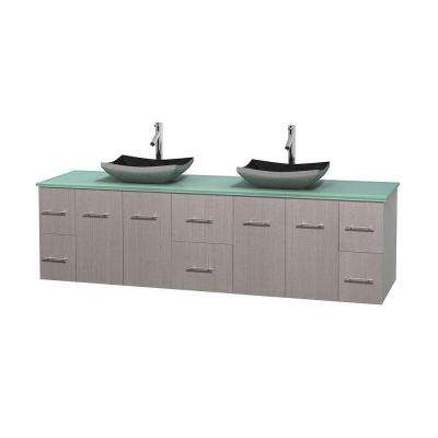 Centra 80 in. Double Vanity in Gray Oak with Glass Vanity Top in Green and Black Granite Sinks