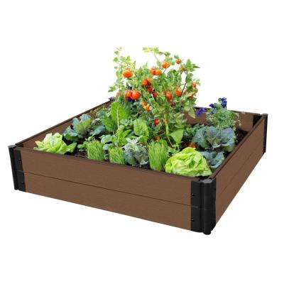 One Inch Series 4 ft. x 4 ft. x 11 in. Uptown Brown Composite Raised Garden Bed