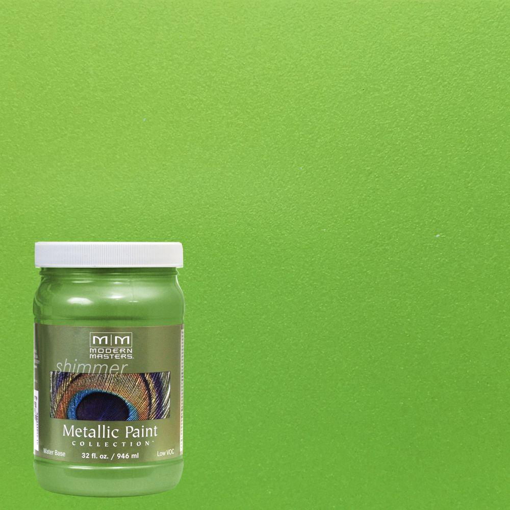 1 qt. Green Apple Water-Based Satin Metallic Interior/Exterior Paint