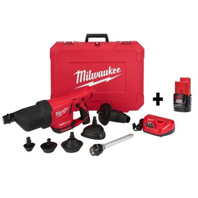 M12 12-Volt Lithium-Ion Cordless Drain Cleaning Airsnake Air Gun Kit with (2) 2.0 Ah Batteries, Toilet Attachments